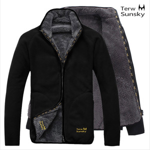 Chaqueta Polar para exteriores, chaqueta gruesa térmica de invierno para hombre para senderismo, ropa de doble cara, abrigo de terciopelo Coral, prendas de vestir para senderismo y acampada