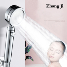 Zhangji plating 3 modes with Switch button shower head Plating Adjustable bathroom handled newly high pressure shower head