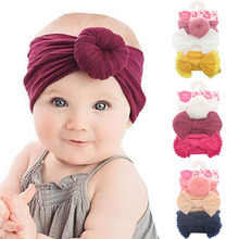 Kids Elastic Hair Bands Turban Solid Color Cotton Girls Hair Accessories Bowknot Headwear 3Pcs/Set Cute Bow Headband jrfsd solid color knotting headband cotton material hair accessories suitable for 0 7 year old kid hair bands for girls headwear
