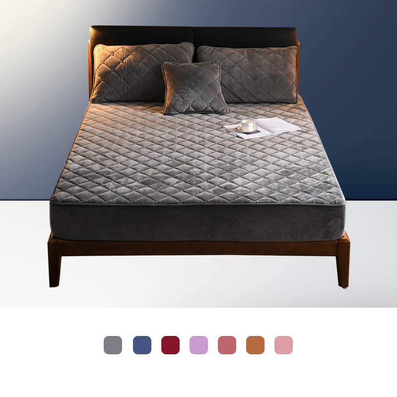 Bed Cover Plush Fabric Quilted Mattress Protector Thicken King Mattress Topper for Bed Anti-mite Twin Bed Mattress Cover(China)
