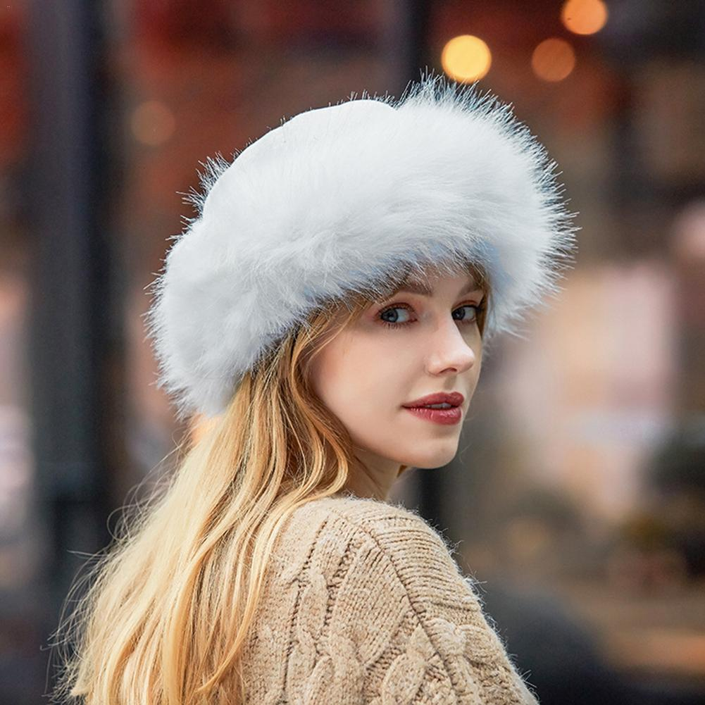 Bomber Hats Winter Cap Fur Hat Lady Warm Fashion Red White Gray Black Hat Faux Fur Bomber Women's Accessories Faux Leather Hats