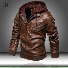 Мужская куртка из искусственной кожи, Мужская мотоциклетная зимняя куртка с капюшоном, Мужская теплая Повседневная кожаная куртка, Мужская облегающая куртка-бомбер, ветровка