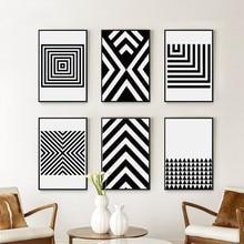 Siyah ve beyaz soyut geometrik desen tuval sanat boyama baskı posteri resim duvar ofis yatak odası Modern ev dekor A2A3A4