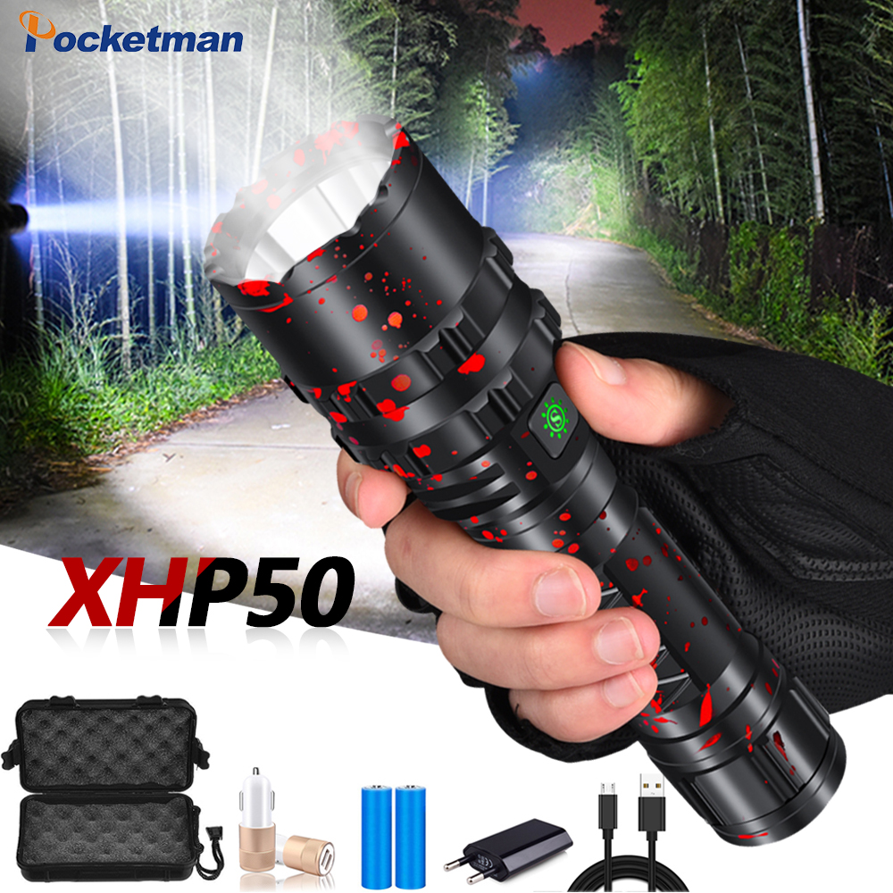 85000LM LED Flashlights Rechargeable E17 L2 T6 Torch XHP50 Waterproof Zoomable Lamp Flashlight Light 18650 Or 26650 Battery Use