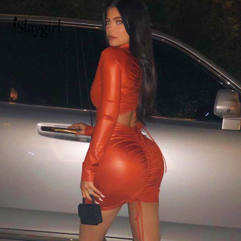 Mini Bodycon Dress kylie jenner Women backless long sleeve Autumn Dress Elegant Sexy Dresses Vestidos