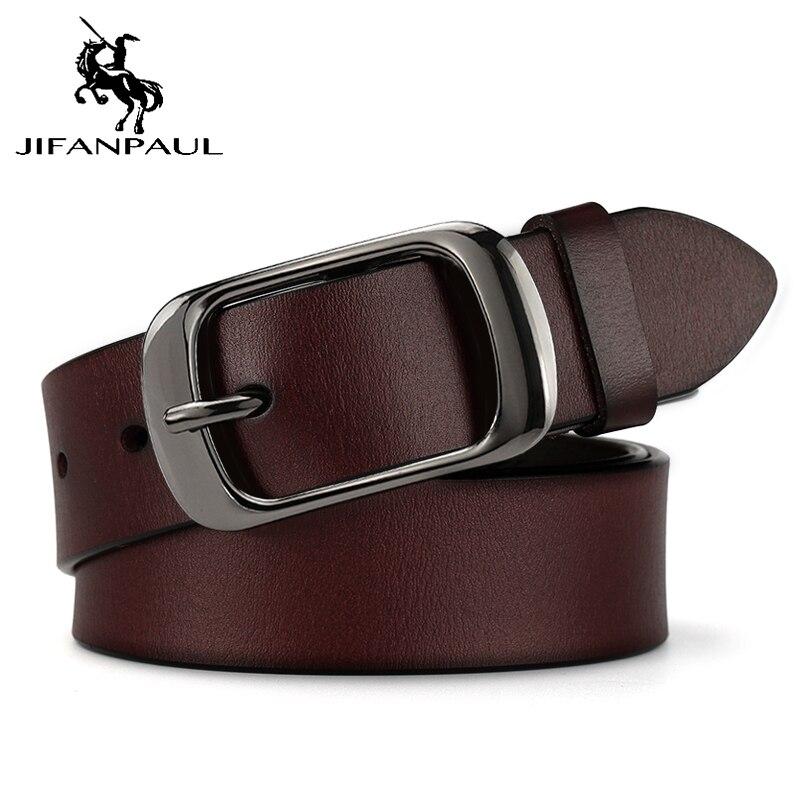 JIFANPAUL бренд подлинный мужской модный кожаный ремень сплав Материал Пряжка Бизнес Ретро Мужские джинсы дикие ремни высокого качества - Цвет: RDD 2.8CM Coffee