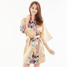 Белый сексуальный Свадебный халат невесты Атласный халат Половина рукава новинка мини кимоно с v-образным вырезом платье пижамы Неглиже