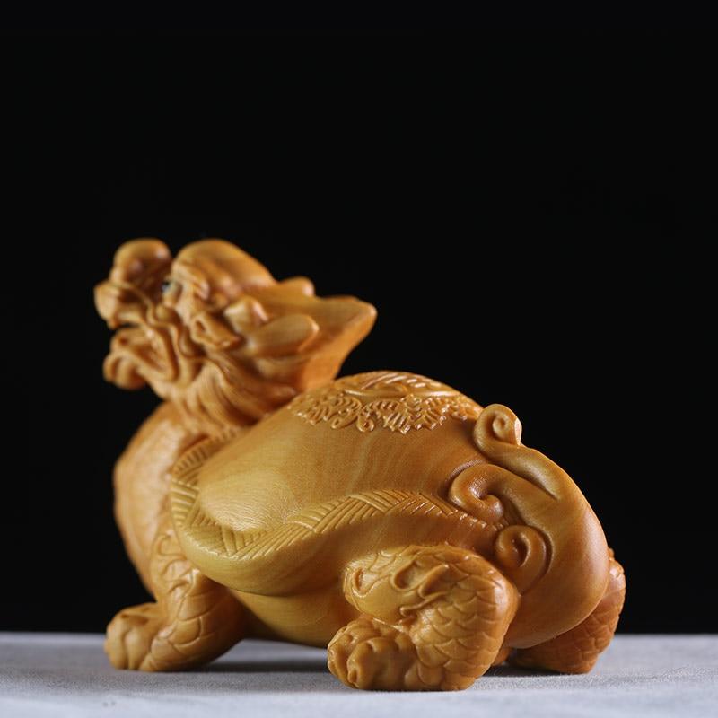 Dragon tortue Animal exquis buis sculptures voiture décoration chinois Dragon solide bois ornements sculpture artisanat