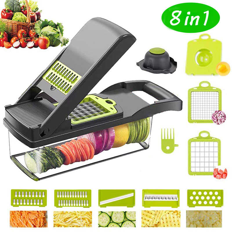 8In1 Multifungsi Vegetable Cutter Gadget Dapur Alat Pengiris Kentang Wortel Parutan Aksesoris Alat Dapur Pisau Baja Овощерезка