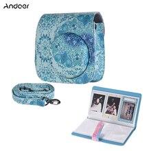 Andoer PU kamera çantası Fujifilm Instax Mini 8 için Mini 9 Instax kamera çantası + 96 cepler fotoğraf albümü yüksek Qualy dayanıklı kamera çantası