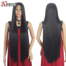 Xtrend Wigs For Black Women Long Straight Synthetic Lace Front Wig Blonde Black Red Cosplay 613 Grey Copper Green(China)