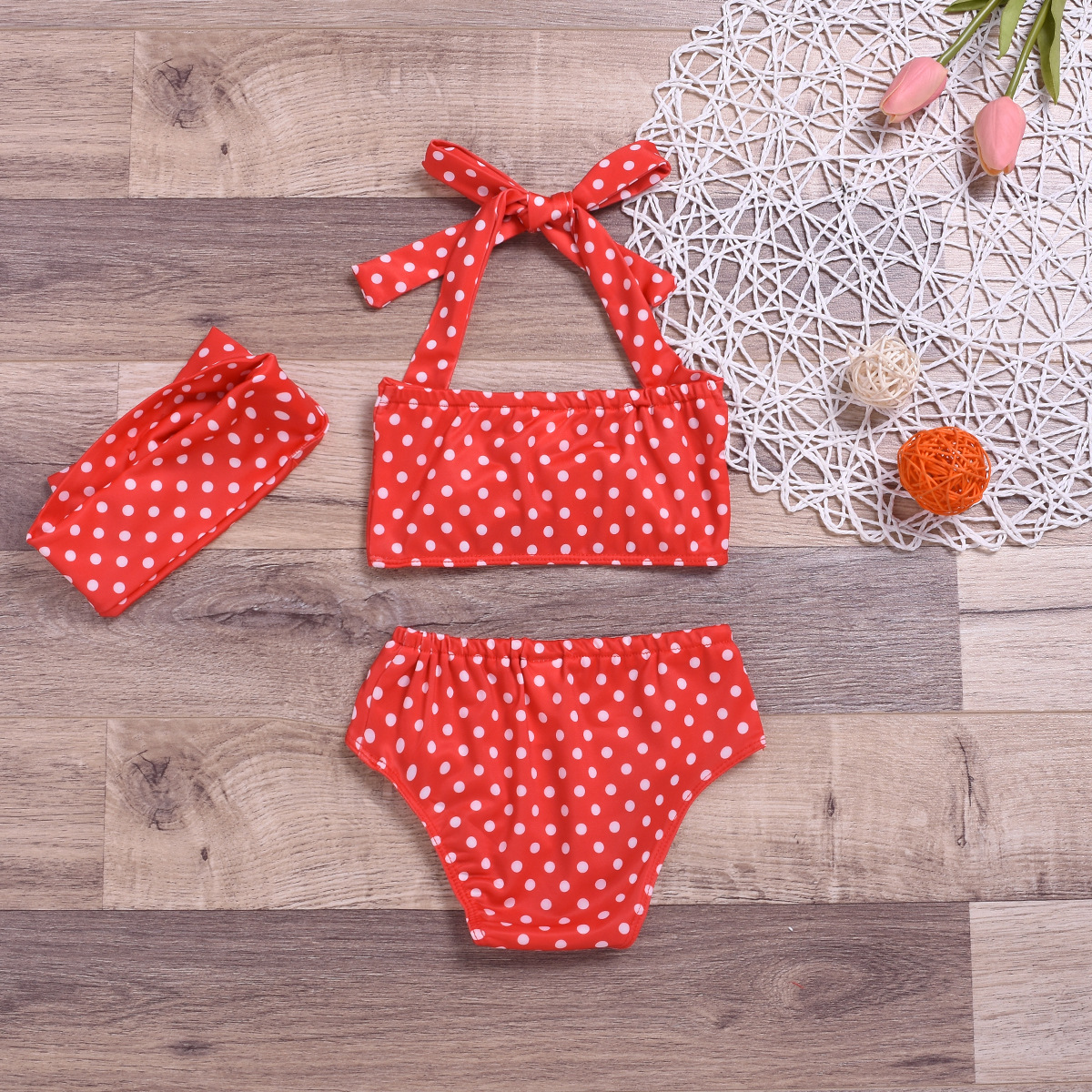 Baby Girl Baby Bathing Suit Swimwear Red Polka Dot Bikini Set And Headband With 3-Piece