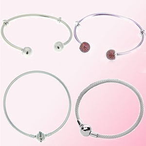 Image 1 - 100% 925 Sterling Silver 1:1 Limited Edition One in a Million Bracelet MOMENTS OPEN BANGLE WITH LOGO CAPS Fit DIY Beaded Charm