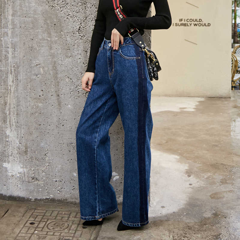 2019 autumn Korean simple and comfortable jeans high waist straight women Wide leg pants