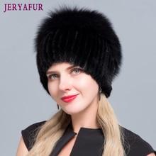 JERYAFUR Neue Mode Winter Hüte Für Frauen Real Nerz Hut Weibliche Patchwork Fuchs Pelz Mix Farbe Interne Stricken Mützen warme