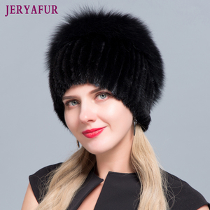 Image 1 - JERYAFUR New Fashion Winter Hats For Women Real Mink Fur Hat Female Patchwork Fox Fur Mix Color Internal Knitting Beanies Warm