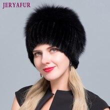 JERYAFUR nowe modne kapelusze zimowe dla kobiet kulka z prawdziwego futra z norek damskie, patchworkowe futra lisa Mix kolorów wewnętrzne dzianiny czapki ciepłe