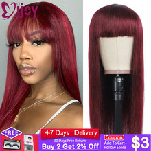 99J/Burgundy Brazilian Straight Human Hair Wigs With Bangs Full Machine Made Long Wigs For Black Women Non-Remy Cheap Wig IJOY