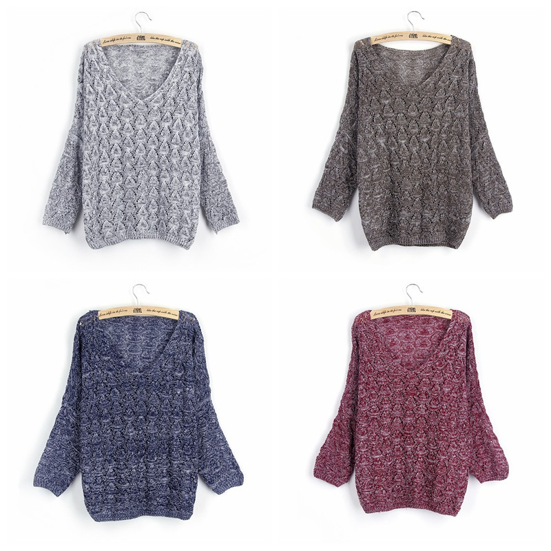 Autumn Winter Female Pullovers V Neck Casual Long Sleeve Fashion Hollow Out Sweater For Women Woolen Knitted Jumper Female