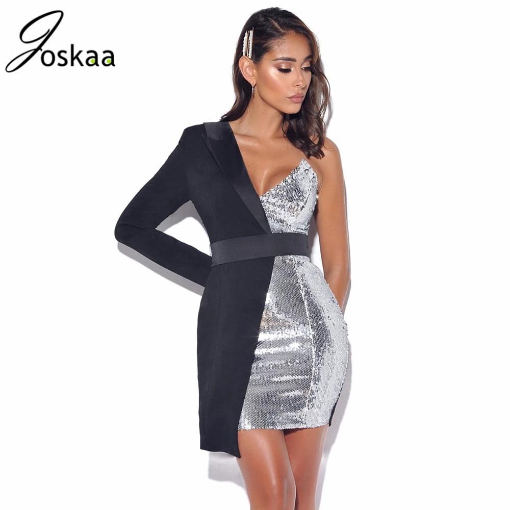 Gergeos Fashion Women V-Neck Mesh Sleeve Sequined Patchwork Slim Fit Elegant Party Mini Dresses