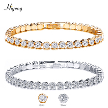 HIYONG 2019 New Fashion Shiny Crystal Tennis Bracelets For Women Cubic Zirconia Silver Gold Color Bangle Wedding Jewelry Gift