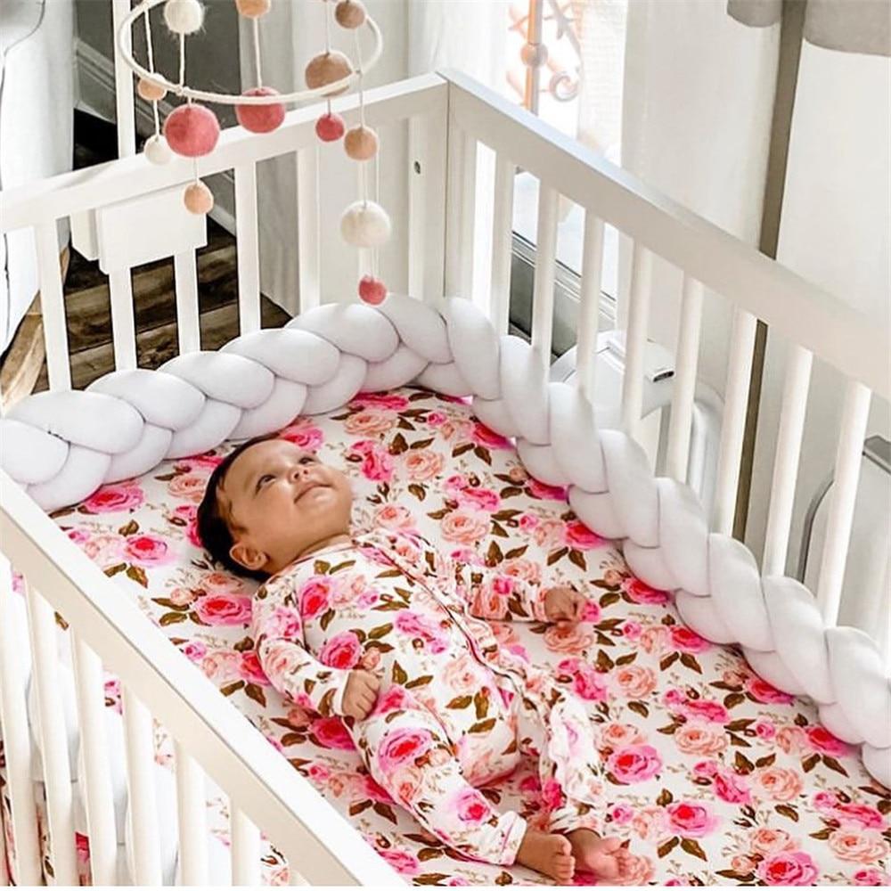 1M/2M/3M Baby Bed Bumper Newborn Braided Crib Bedding Bumper Protective Head Bed Baby Kids Room Decoration