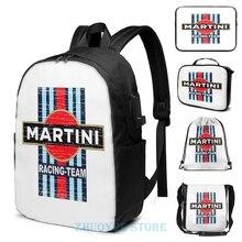 Divertido estampado gráfico Vintage Martini Racing USB Charge mochila hombres mochilas escolares mujeres bolsa de viaje bolsa de ordenador portátil