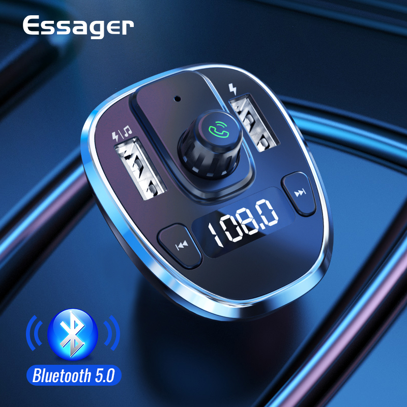Essager USB Car Charger For Mobile Phone Bluetooth Handsfree FM Transmitter MP3 Player Car Kit Fast Charger For iPhone Xiaomi Mi