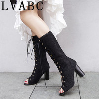 Fashion new summer shoes high heel Women Pumps Sandals Boot sexy Lace Up open toe Mid boots Size 32 43