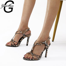 GENSHUO Stiletto Sandals Sexy Open Toe Ankle Strap Shoes Woman High Heel Shoes Rome Sandals Ladies Shoes Zapatos De Mujer Femme new europe popular street beat rivet shoes high heeled catwalk sexy rome ankle buckle strap pu heel 12cm woman pumps 6368w