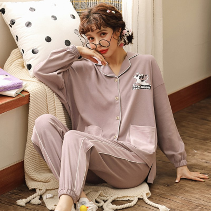 Pajama women's spring and autumn long sleeve pure cotton women's large summer thin all cotton cardigan home clothes suit