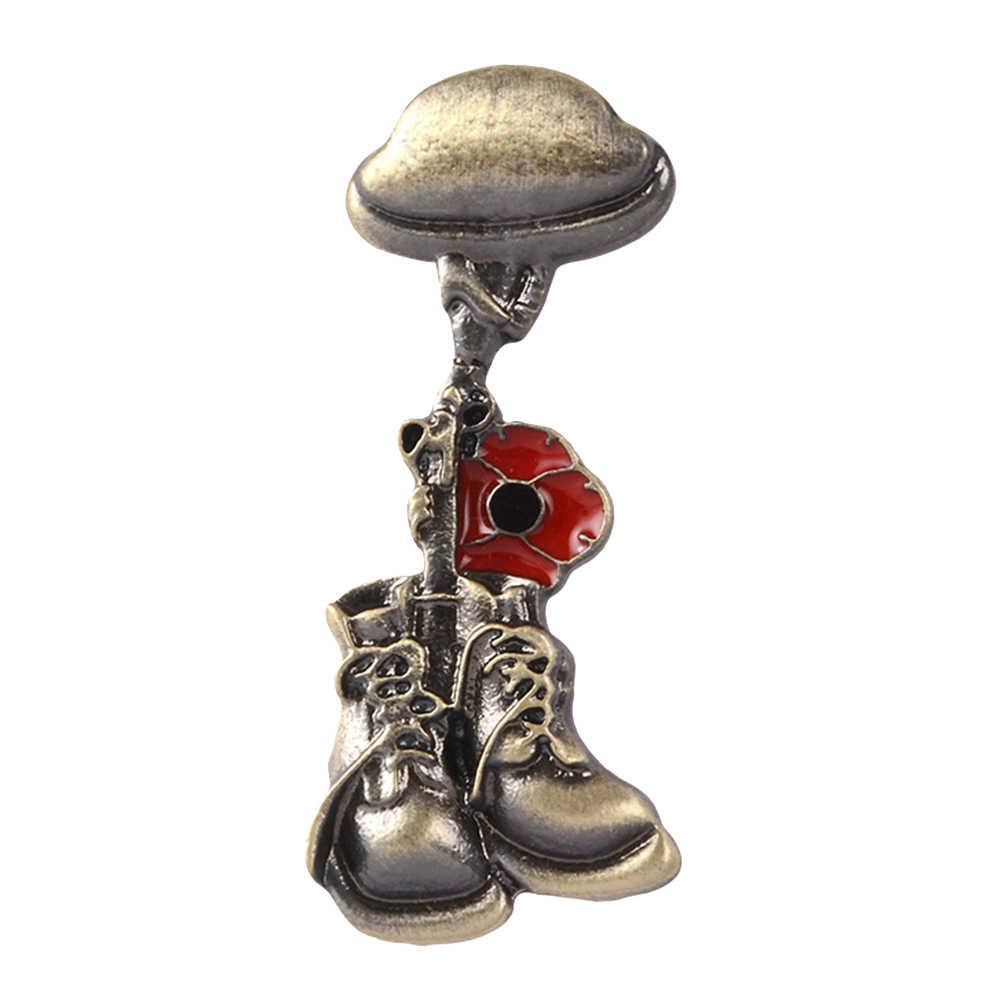 ブローチスカーフバッグセーター記念兵士退役軍人ヘルメットブーツスタイルブローチピンシャツブローチバッジ合金ブーツ形状