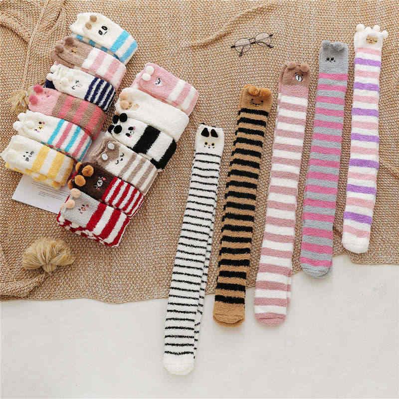 KingDeng kış çorap sıcak uzun karikatür Harajuku mercan polar çizgili çilek kabarık çorap Streetwear moda tasarım