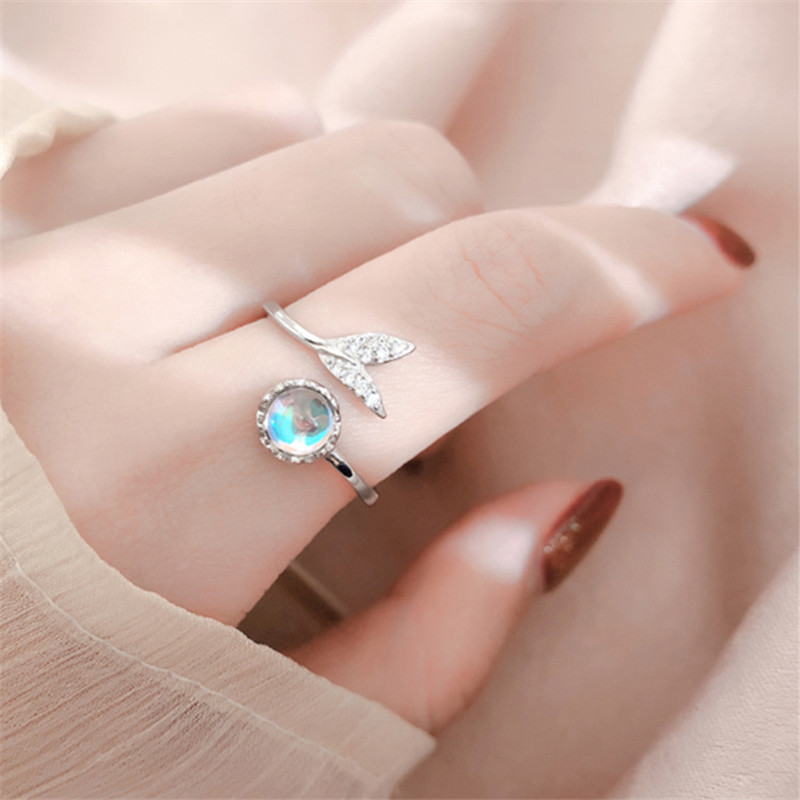 Anneaux plaqué argent pour femmes, style sirène, bague en cristal magique bleu pour leau, bijoux CZ élégants pour dames