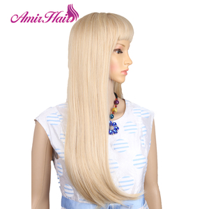 Image 3 - Amir Long Straight Light Blonde Synthetic Wigs With Bangs Cosplay Hair For Black/White Women High Temperature Fiber