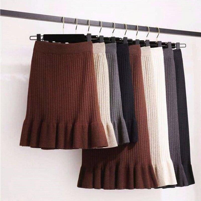 Women's Autumn Mermaid Knitted Mini Skirt High Waist Warm Elegant Ruffle Knitting Ribbed Skirts Female 2019 Winter Party Skirts