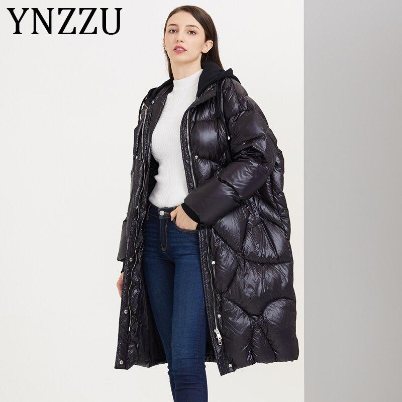 YNZZU Korean Style 2019 Winter Women's Down Jacket Casual Long Hooded Loose 90% White Duck Down Coat Female Warm Outwears A1115