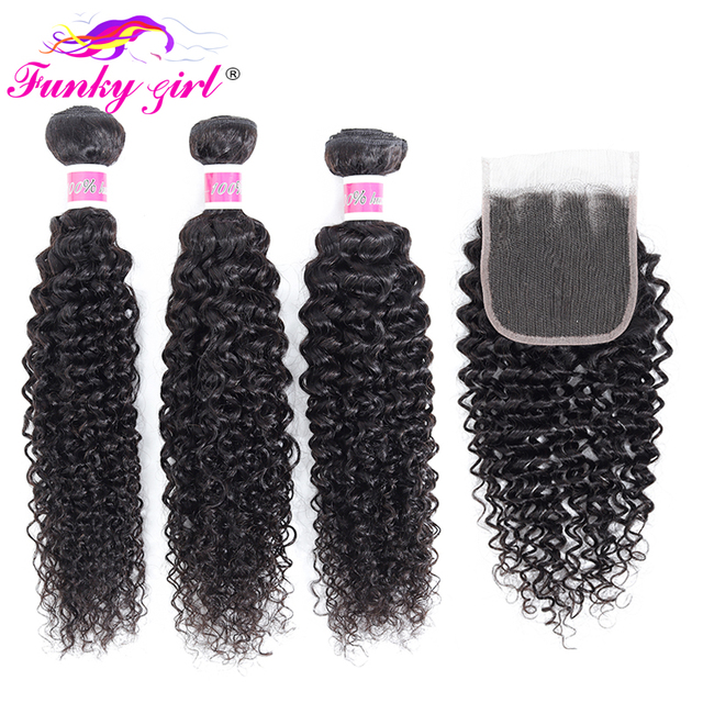 פאנקי ילדה מלזיה קינקי מתולתל שיער 3 או 4 חבילות עם סגירת חלק חינם שיער טבעי Weave חבילות עם סגר ללא  רמי שיער