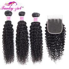 Funky Mädchen Malaysia Verworrene Lockige Haar 3 oder 4 Bundles mit Schließung Kostenlose Teil Menschliches Haar Weave Bundles Mit Verschluss nicht Remy Haar