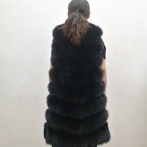 Image 2 - Женский жилет из натурального лисьего меха, толстый теплый длинный жилет без рукавов, роскошная модель на зиму, 2019