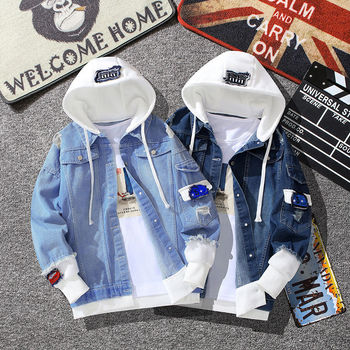 High Quality Casual Jean Jacket Men Denim Jackets Long Sleeve with Nood Patchwork Cotton Japanese Streetwear Bomber Jacket Men embroidery denim jacket female long sleeve jean jacket korean slim short bomber jackets women tight clothes jaqueta feminina new