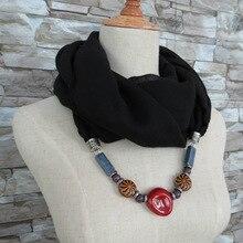 Windmill long stone Cotton linen scarf female pure national style ceramics necklace pendant neck