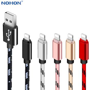 Kabel USB do ładowania danych dla Apple iPhone 11 XS X XR 7 8 Plus 5 6 S 5S 6 S iPad długi krótki szybki ładunek przewód do telefonu komórkowego 2M 3M tanie i dobre opinie Nohon LIGHTNING 2 4A HK (pochodzenie) NYLON USB A Złącze ze stopu Black Gray Gold Red Pink White High Quality