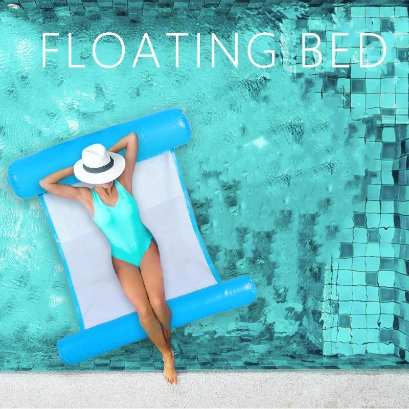 Air Mattress Foldable Swimming Pool Beach Inflatable Float Ring Cushion Bed Lounge Chair Mattress Hammock Water Sports Wh