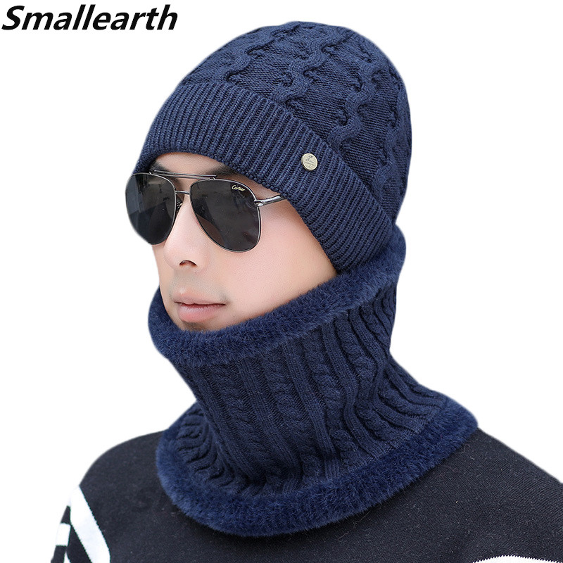 2 Pieces Winter Hat Scarf Set For Men Winter Plus Velvet Beanies Scarves Male Knitted Sets Thick Cotton Warm Winter Accessories