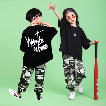 Fashion Childrens Hip-hop Suit Boys Handsome Camouflage Short-sleeved Costumes Girls Dancewear Stage Outfit