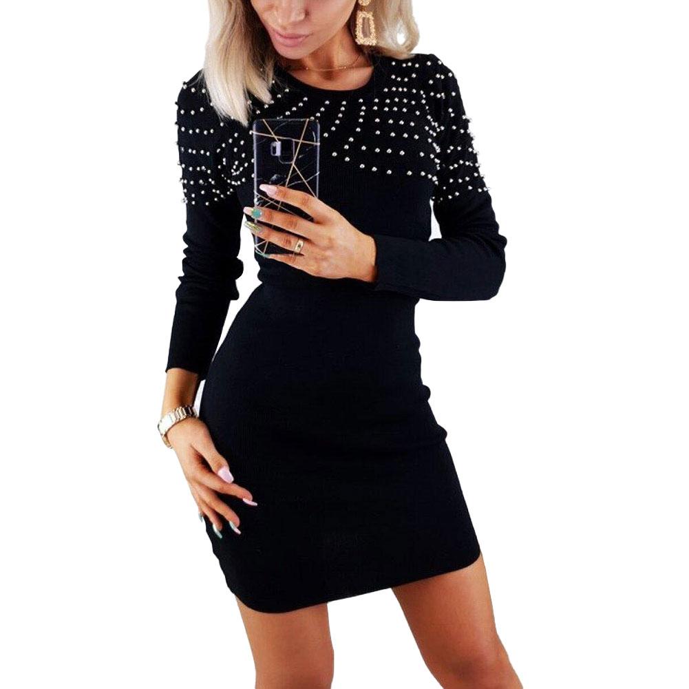 US $17.17 17% OFFFrauen Perle Gestrickte Pullover Kleid Langarm Bodycon  Bluse Tunika Mini Kleid Frühling Herbst Sexy Damen Elegante Kleider
