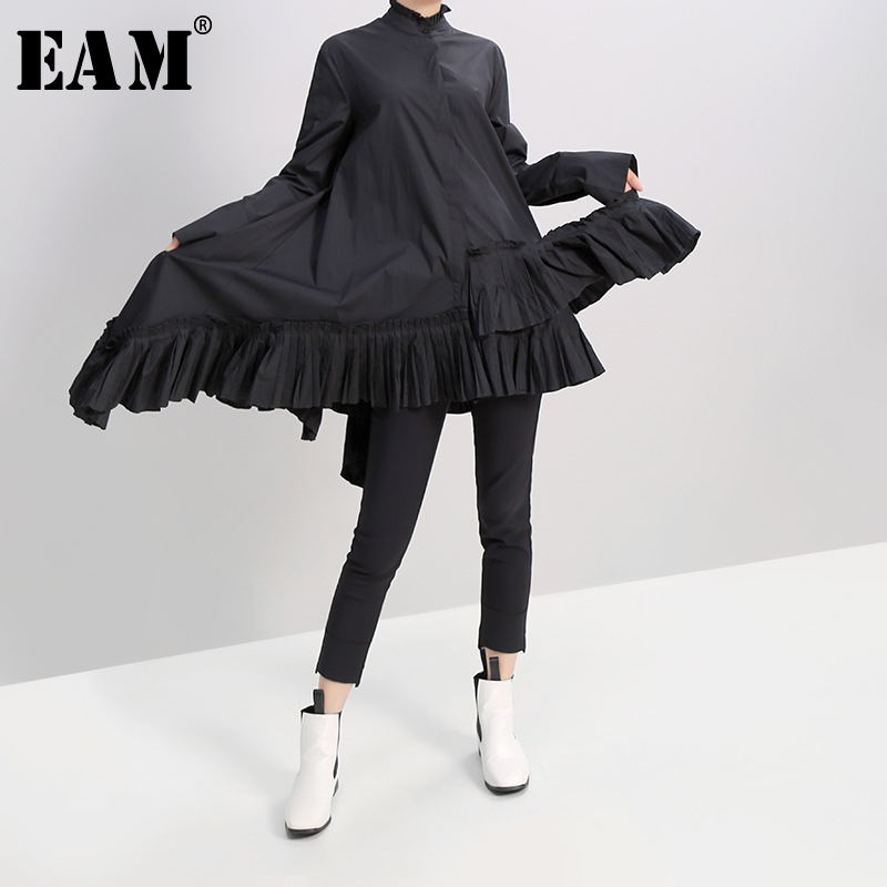 [EAM] Women Black White Pleated Spliced Big Hem Dress New Ruffled Neck Long Sleeve Loose Fit Fashion Spring Autumn 2020 1A180