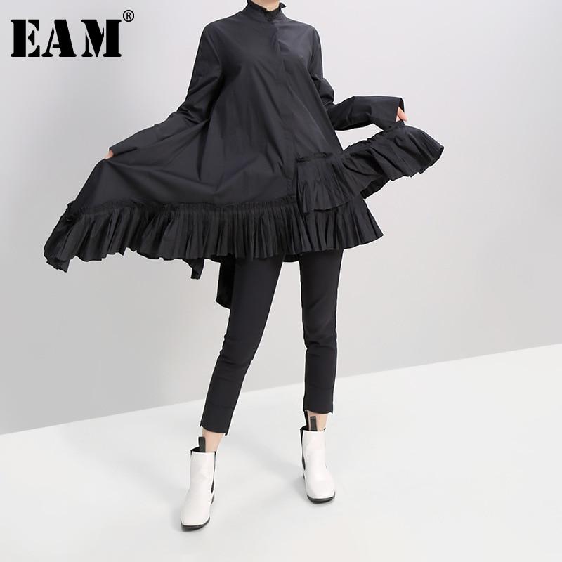 [EAM] Women Black White Pleated Spliced Big Hem Dress New Ruffled Neck Long Sleeve Loose Fit Fashion Spring Autumn 2020 1A180