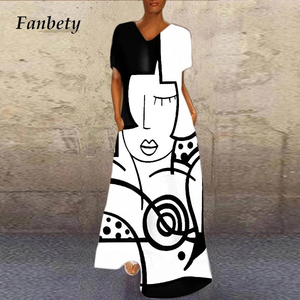 Ladies Elegant Abstract Girl Printed Party Dresses Casual Short Sleeve V Neck Long Dresses Summer Loose Plus Size A-line Dresses